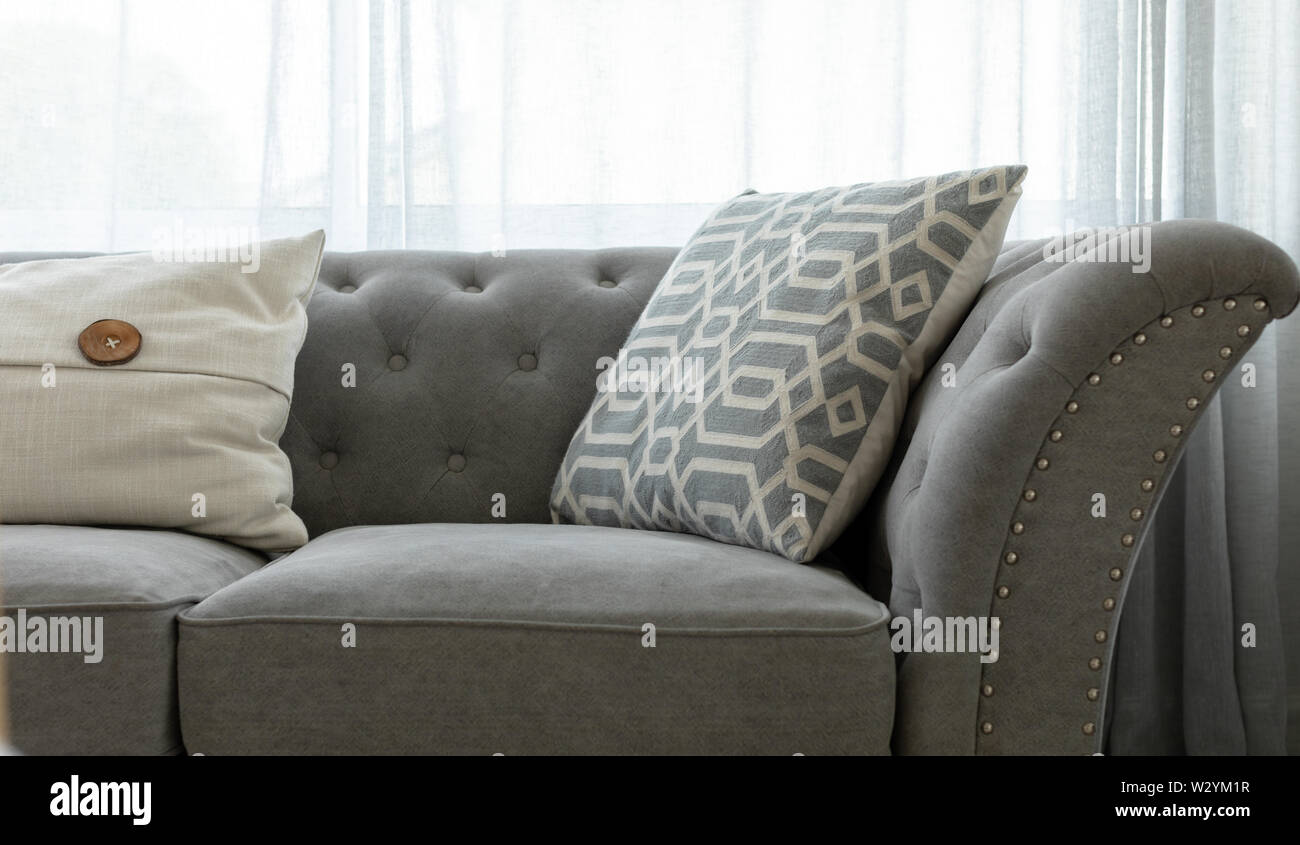 https www alamy com grey couch with throw pillows image259993267 html