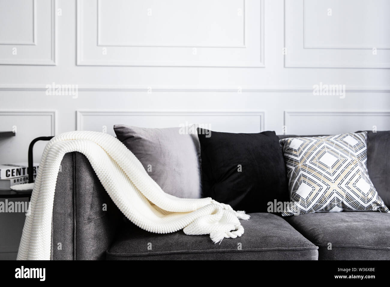 https www alamy com living room interior with with gray fablic sofa comfy pillows plaid and knitting whithe blanket decoration modern room interior design image260151906 html