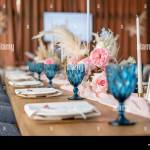 Luxury Dinner Banquet In The Restaurant Beautiful And Exquisite Decoration Of The Wedding Celebration Banquet Served Table With A Beige Pink Stock Photo Alamy