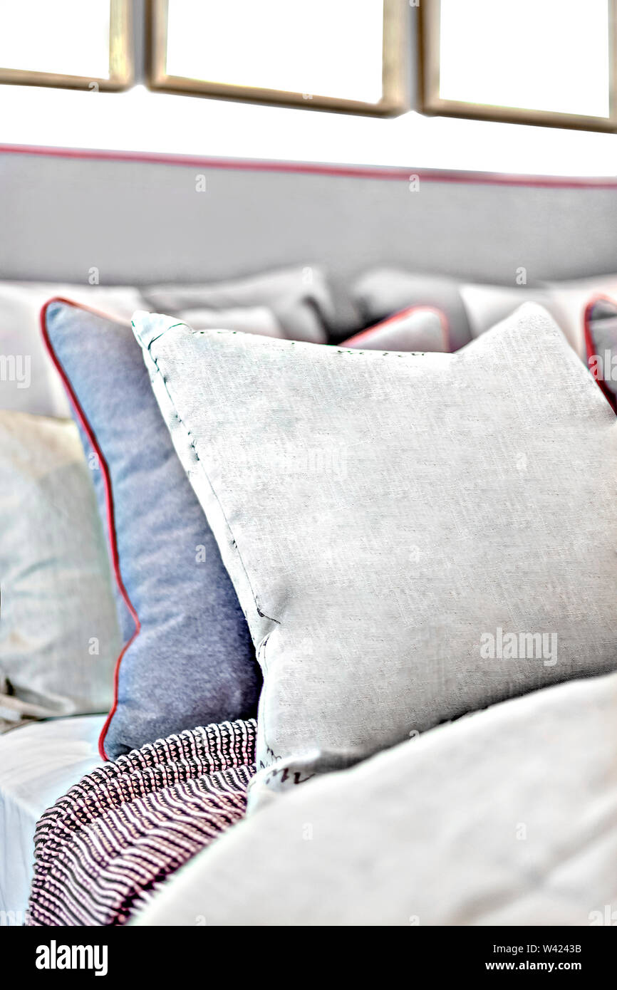 https www alamy com pillows on the bed closeup with the background blurred in a modern house image260661279 html