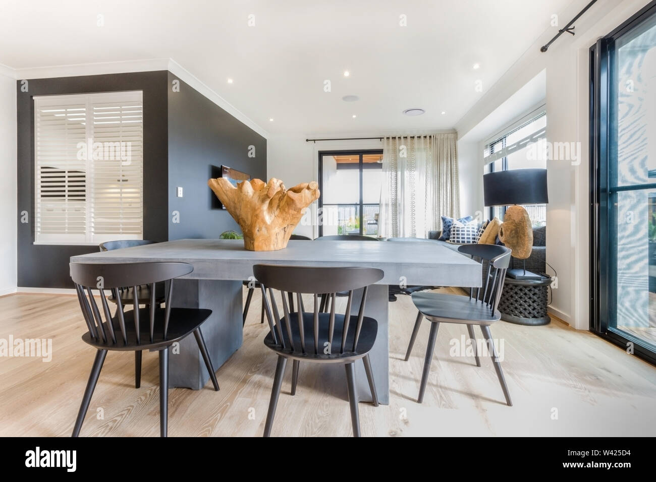 https www alamy com 6 seater dining table set with a beautiful table top complementing the living room dcor image260662336 html