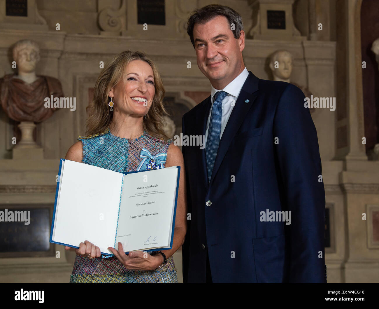 Munich Germany 22nd July 2019 Actress Monika Gruber From Erding Receives The Bavarian Order Of Merit From Markus Soder Csu Prime Minister Of Bavaria Credit Peter Kneffel Dpa Alamy Live News Stock Photo