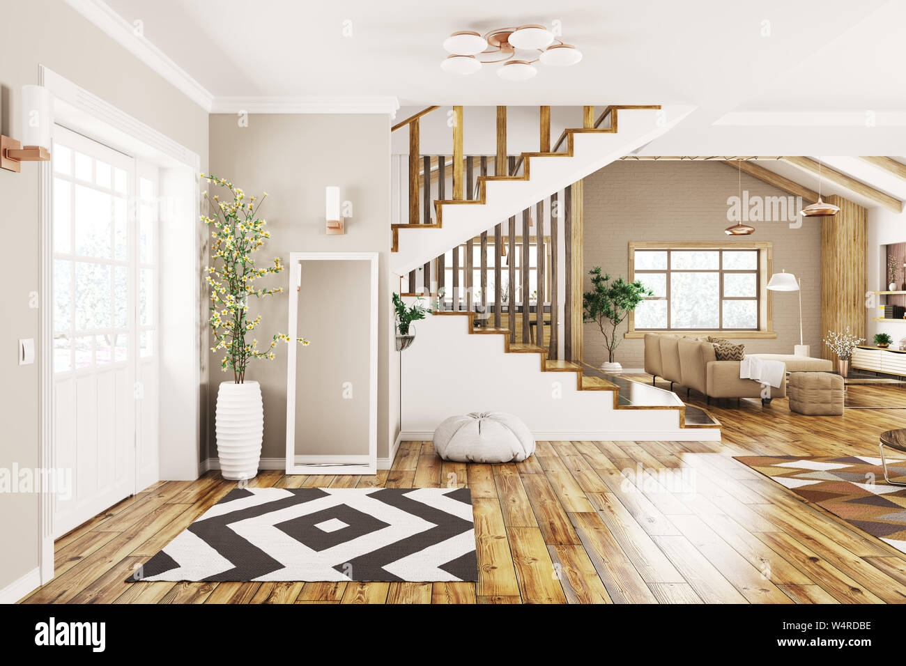 Modern Interior Design Of House Hall Living Room With Staircase | Live Home 3D Stairs | Chief Architect | Building | Floor Plan | Stair Treads | 3D Pro