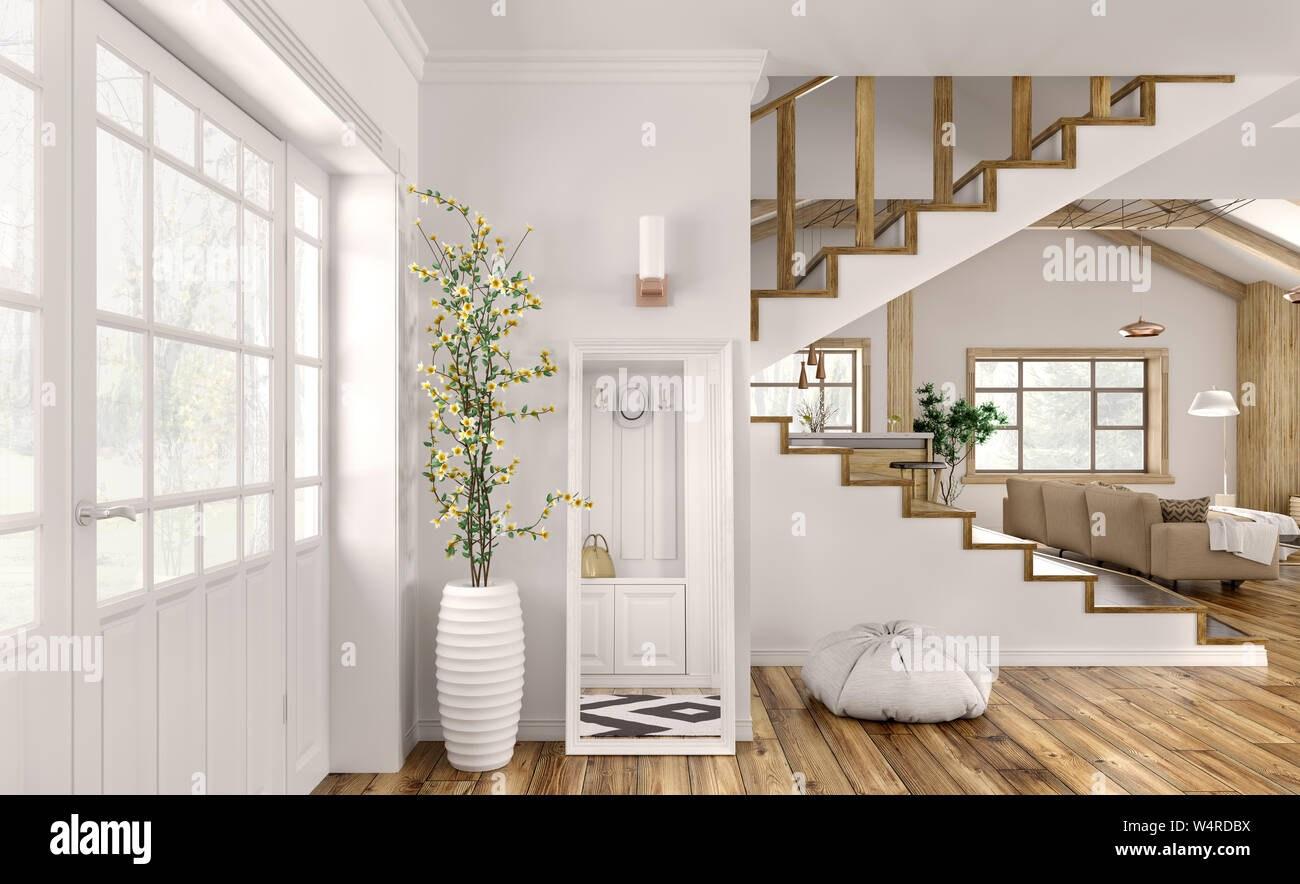 Modern Interior Design Of Hall Living Room With Staircase 3D   Modern Living Room With Stairs   Stylish   House   Mansion   Dining Room   Sleek Modern