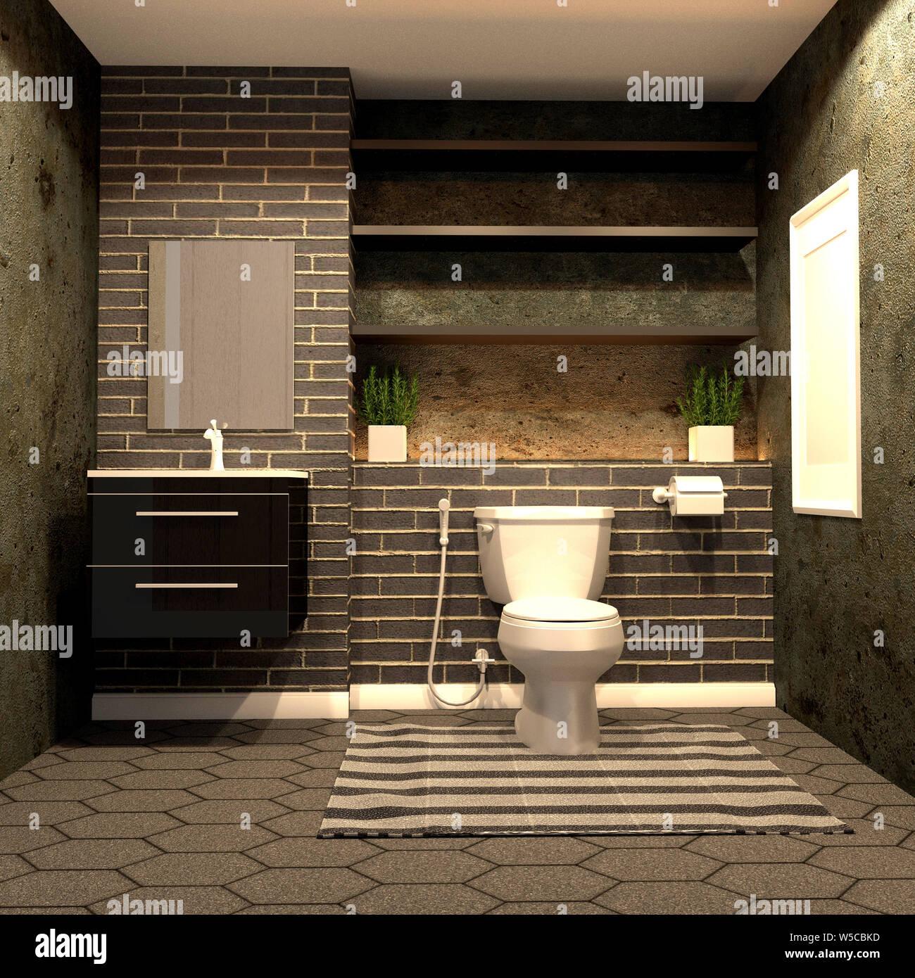 https www alamy com toilet loft style with black brick on hexagon tile floor 3d rendering image261501393 html