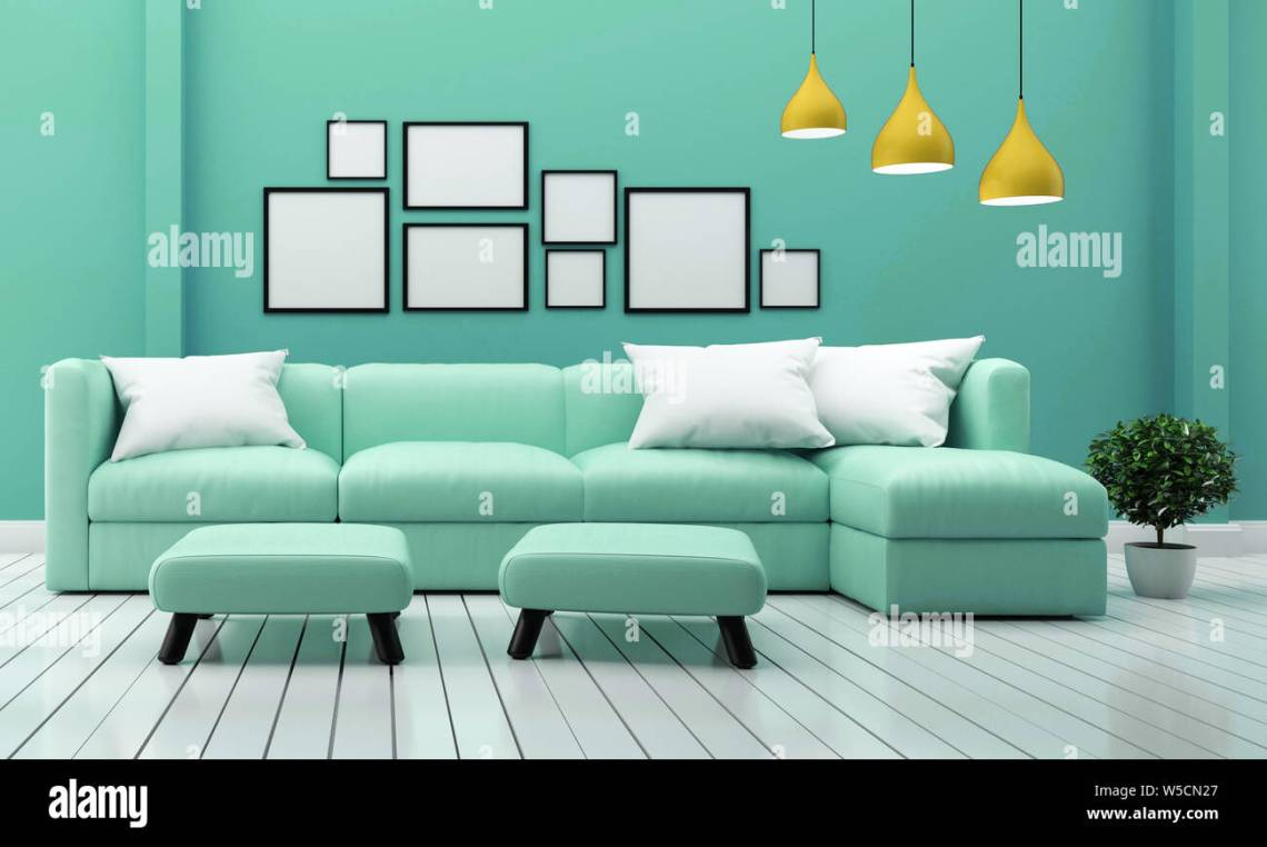 Minimal Designs Living Room Interior With Sofa Plants And Lamp On Mint Wall Background 3d Rendering Stock Photo Alamy