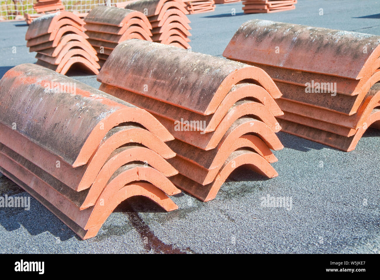 https www alamy com preparatory work for the construction of a italian roof covering with tiles piled over a dark waterproofing membrane image261639231 html