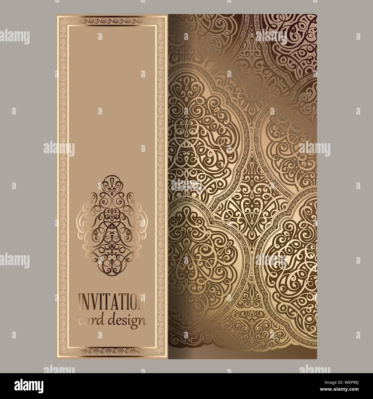 https www alamy com wedding invitation card with beige and gold shiny eastern and baroque rich foliage ornate islamic background for your design islam arabic indian image262333698 html
