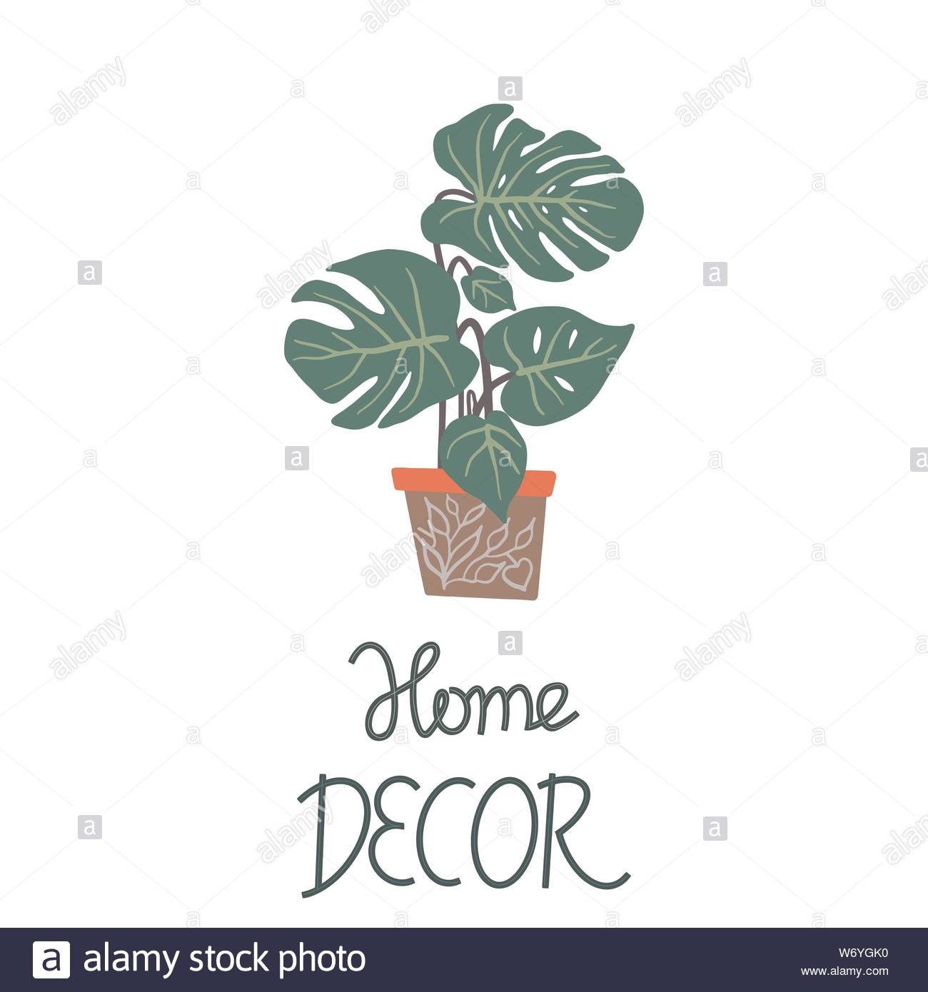 Big Green Leaves Houseplant In A Pot With Note Home Decor On