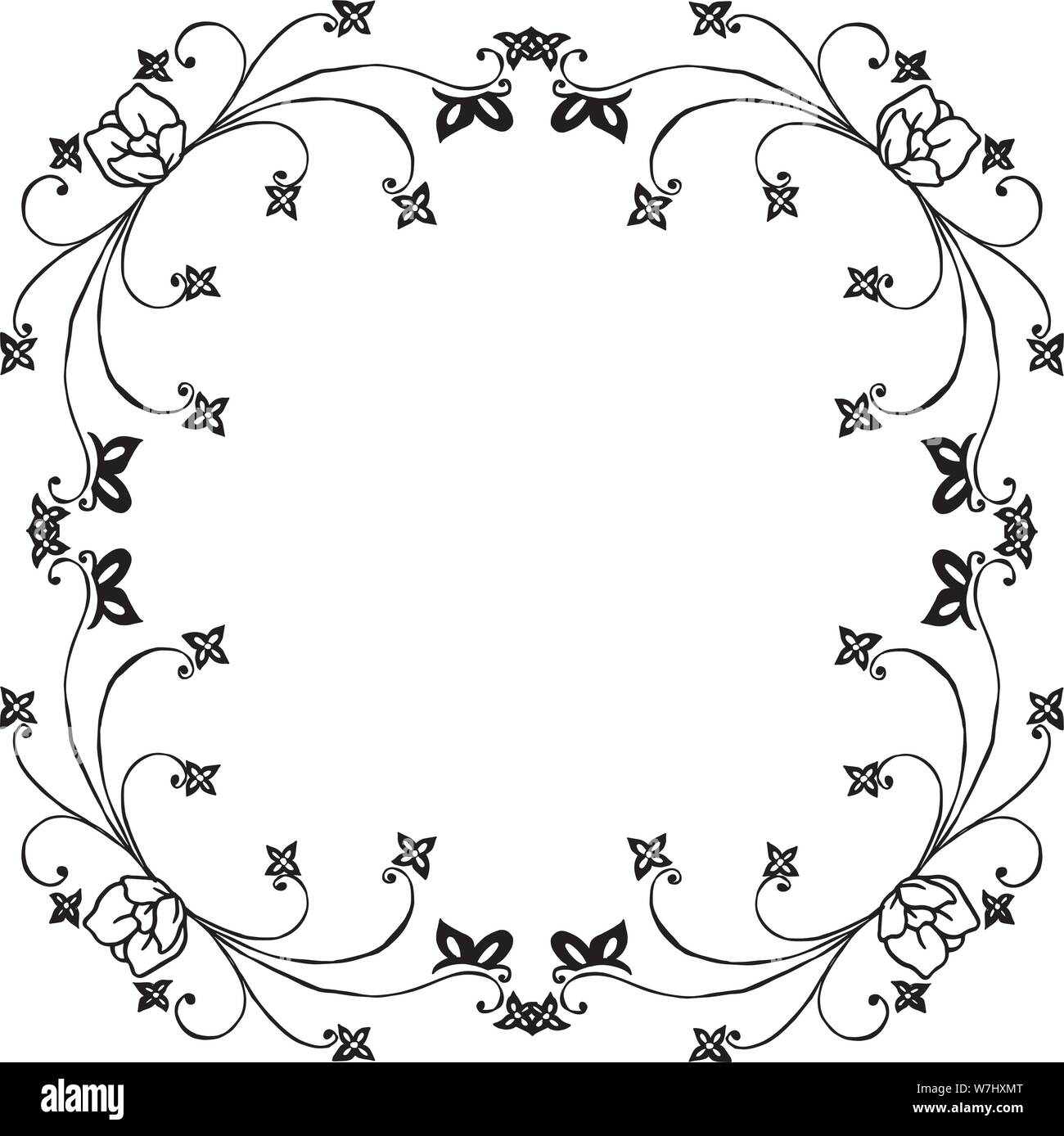 https www alamy com design element for invitation card greeting card with flower frame black white isolated on white background vector illustration image262852264 html