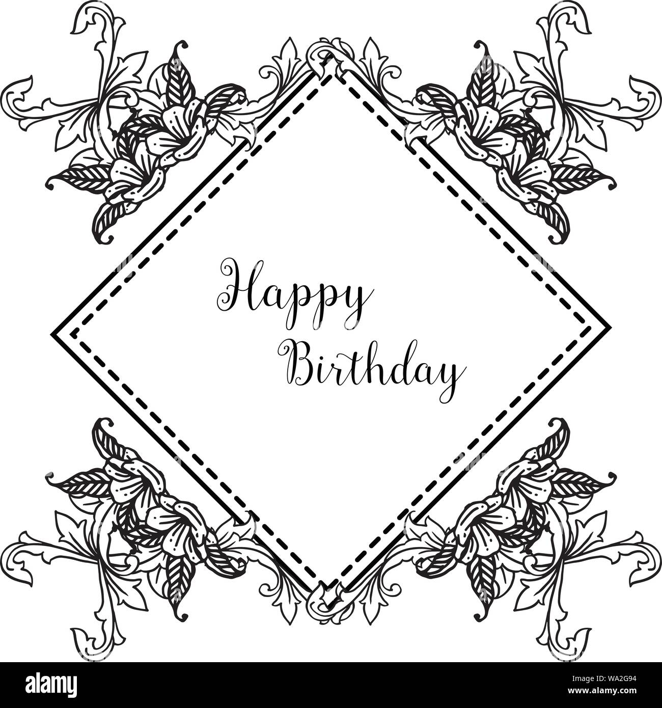 https www alamy com happy birthday background template of greeting card invitation card with wallpaper design of beautiful floral frame vector illustration image264358784 html