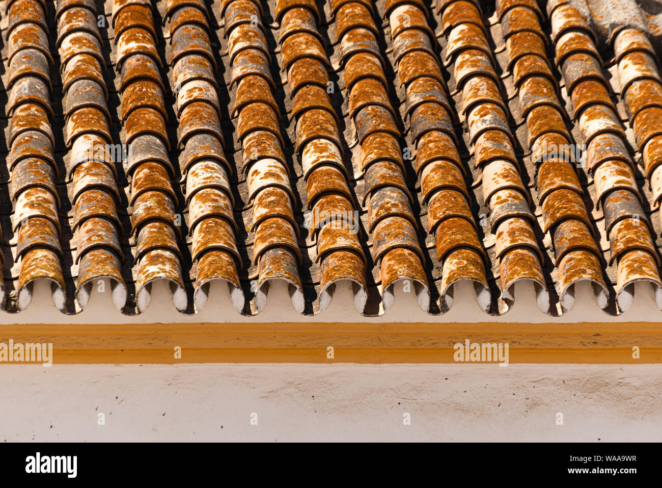 https www alamy com traditional old spanish ceramic roof tiles on a building characteristic elements of mediterranean architecture vintage image264529379 html