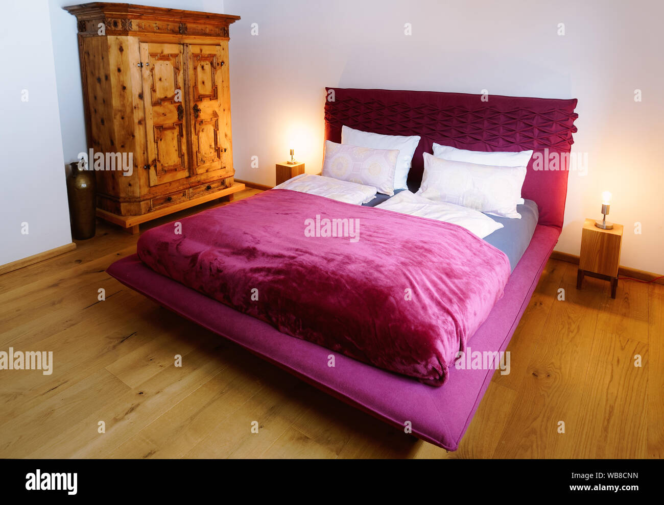 Interior With Bedroom Modern Design Of Pink Bed Wooden