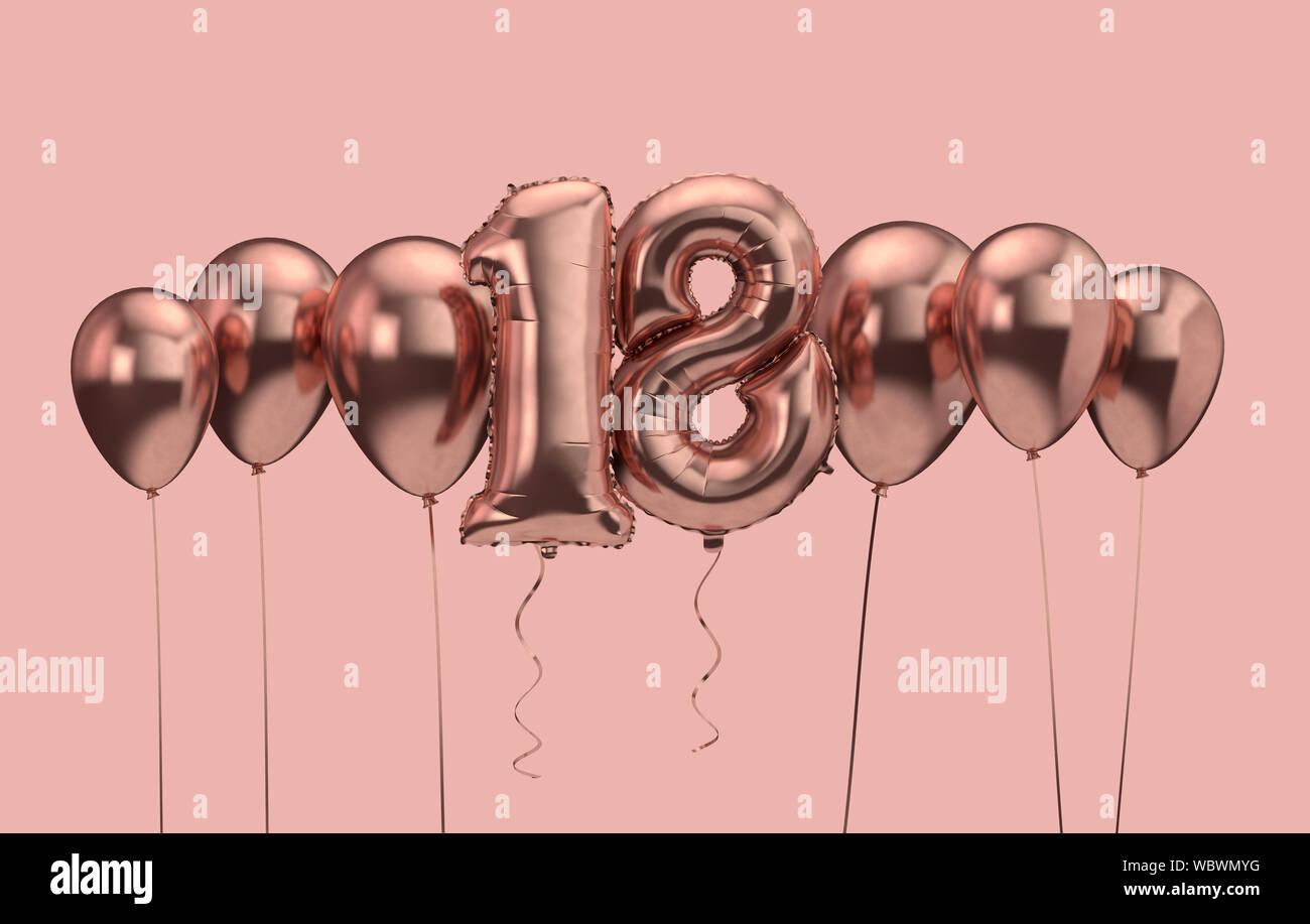https www alamy com 18th birthday pink balloon background happy birthday 3d rendering image265481988 html