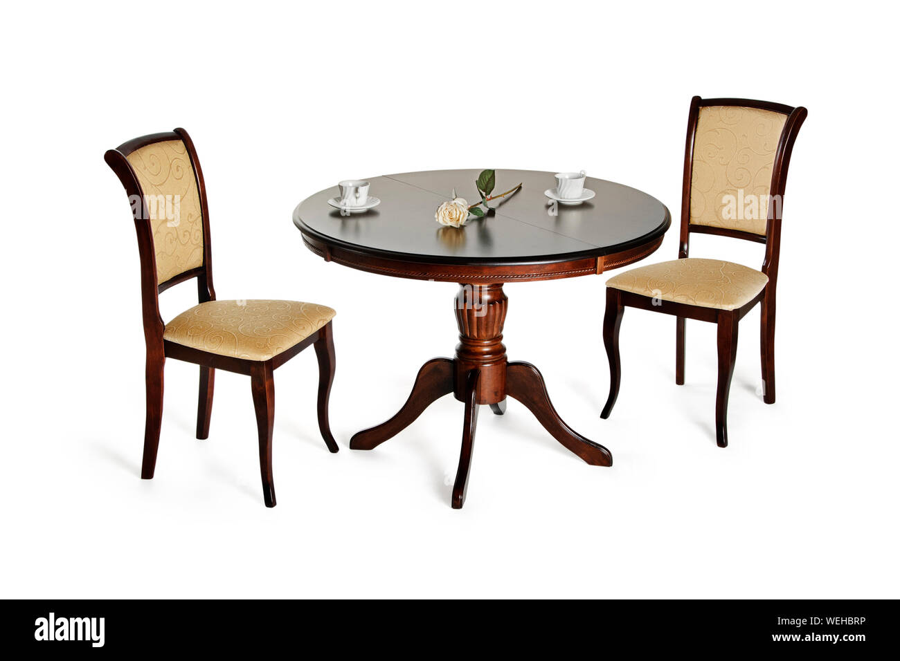 https www alamy com two chairs and round table isolated on white with shadows image267143178 html