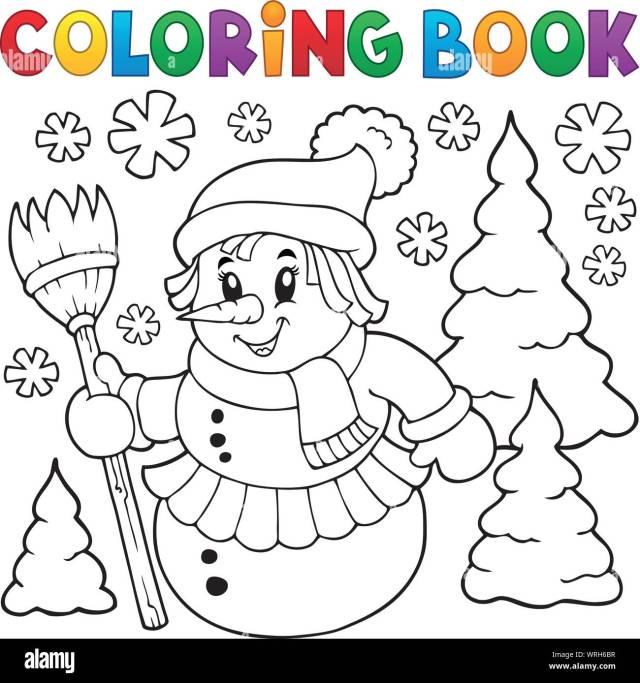 Coloring book snowwoman topic 12 Stock Vector Image & Art - Alamy