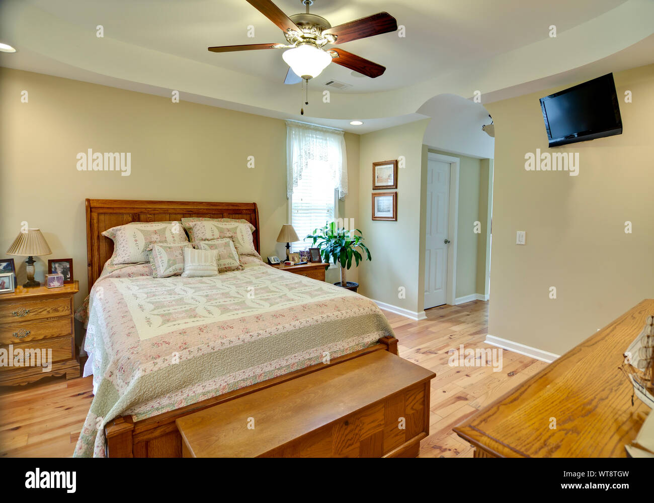 https www alamy com comfortable bedroom with pine floors and oak furniture image273102169 html