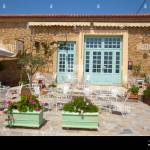 Terrace In Front Of Rustic Restaurant In Greece Stock Photo Alamy