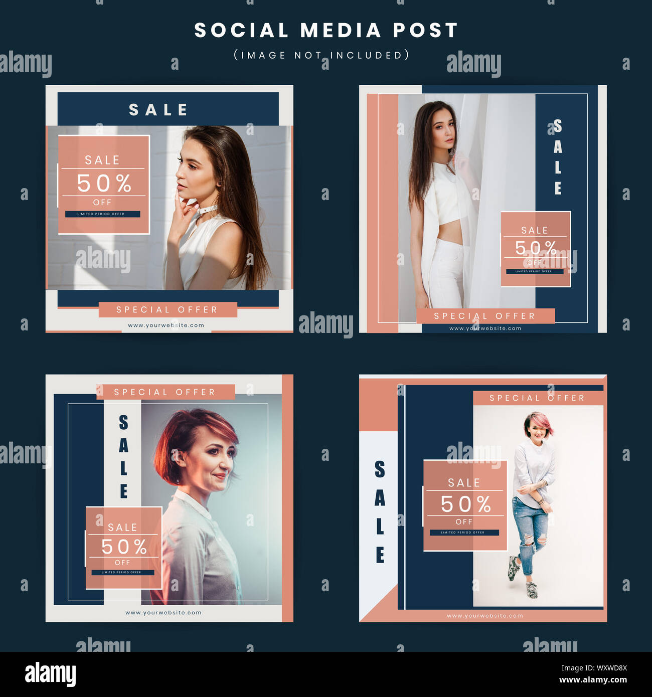 https www alamy com fashion modern social media poster design illustration image274695818 html