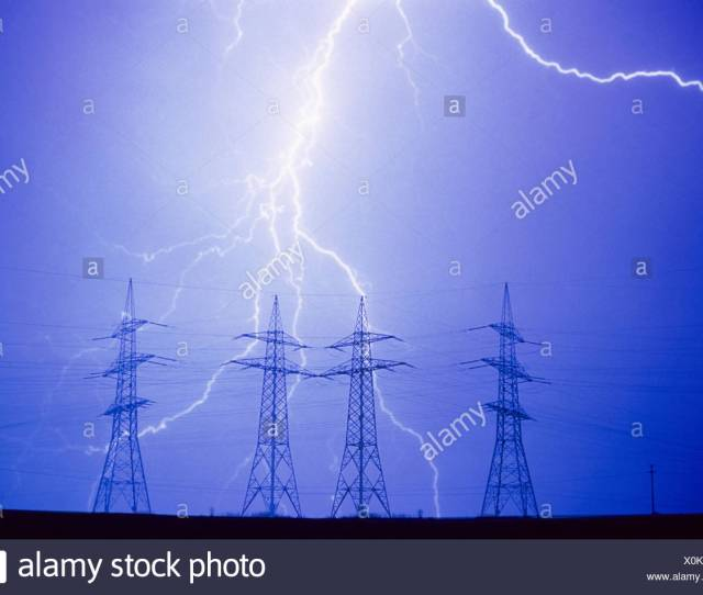 Power Supply Lines High Voltage Poles Thunderstorms Flashes High Tension