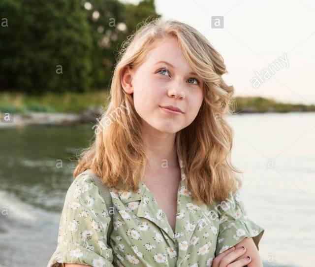Sweden Blekinge Hallevik Portrait Of Teenage Girl 16 17 Standing On Beach