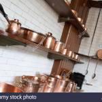 Brass Utensils In Kitchen Stock Photo Alamy