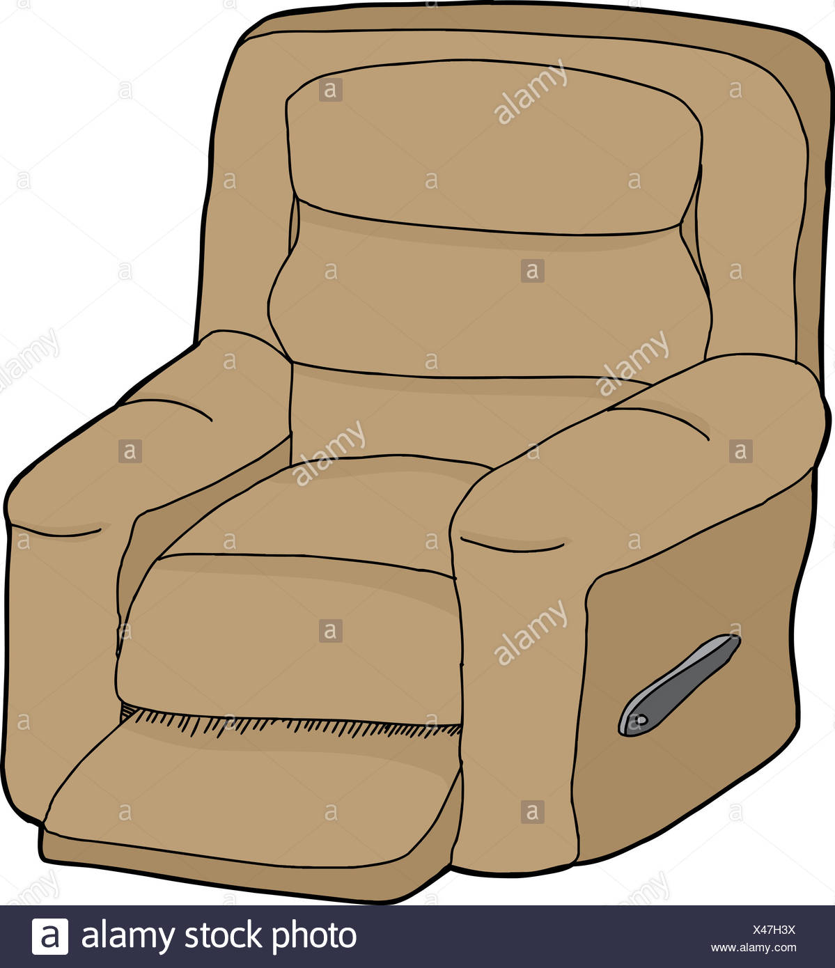 Single Cartoon Recliner Chair On Isolated White Background