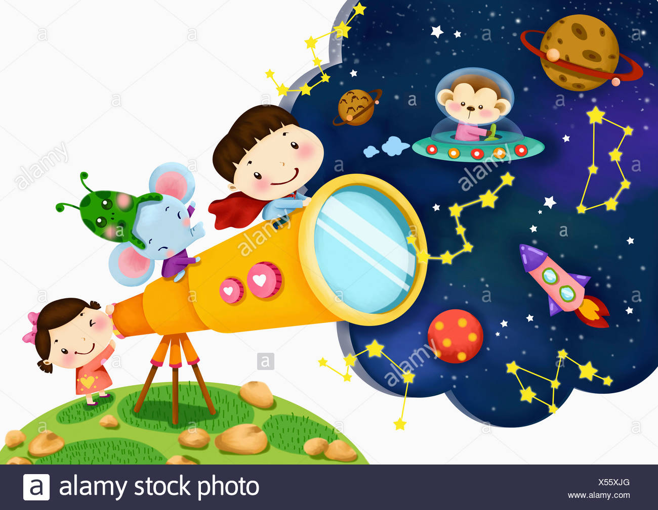 Telescope Drawing For Kids