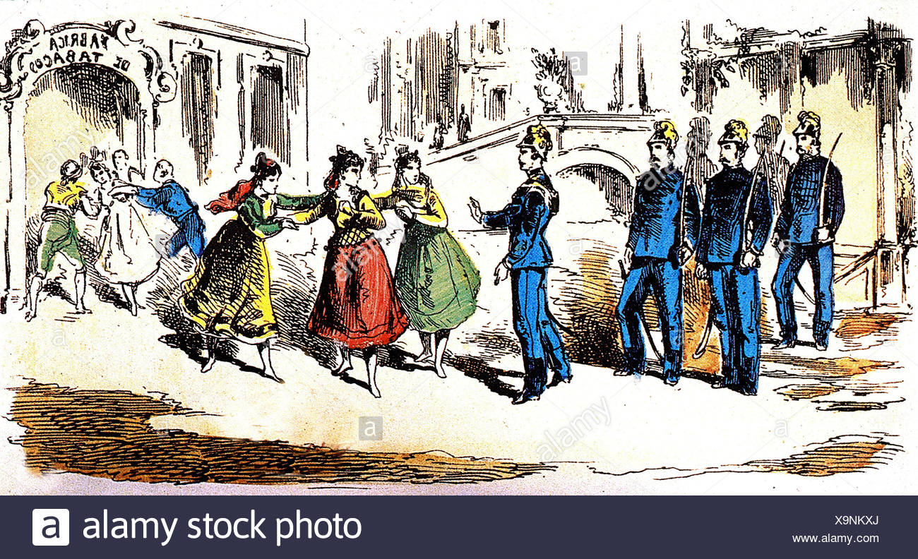 https www alamy com bizet georges 25101838 361875 french composer works opera carmen premiere paris 331875 scene carmen is being arrested drawing from album rosee bibliotheque de lopera image281374426 html