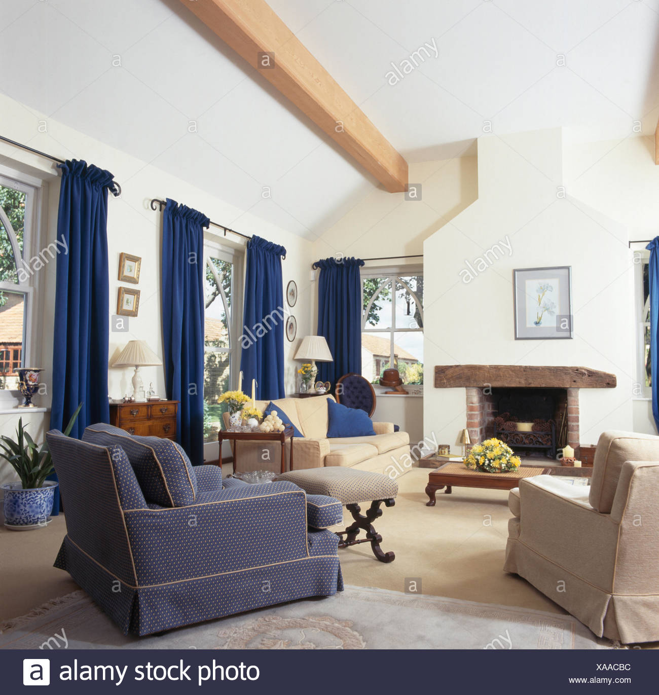 Blue And Cream Armchairs And Cream Sofa Set Around The