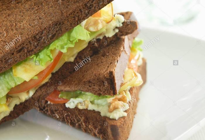 Apple And Walnut Black Bread Sandwich Stock Photos Apple And