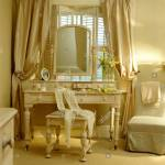 Heavy Cream Silk Curtains On Window With Plantation Shutters