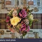 Directly Above Shot Of Artificial Flowers On Dining Table During Christmas Stock Photo Alamy