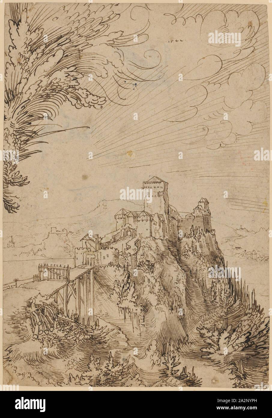 Burg Aggstein In Der Wachau 1542 Feder In Braun Braun Gewaschen
