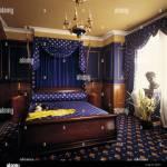 Schlafzimmer Mit Blauen Wanden Und Blau Gemusterten Teppich Mit Passender Bettwasche Stockfotografie Alamy
