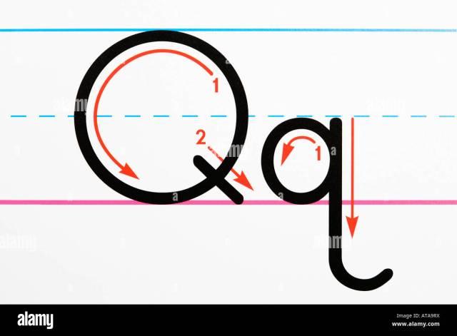 Der Buchstabe Q Handschrift Übungsseite hautnah Stockfotografie
