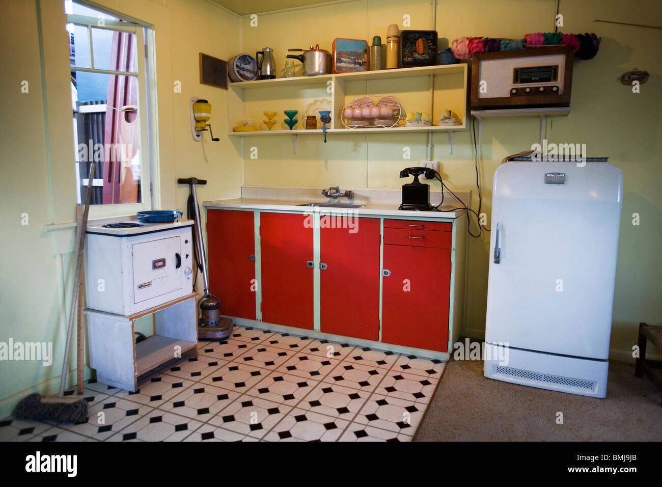 Küche in einem Strandhaus aus den fünfziger Jahren (50er oder 50er