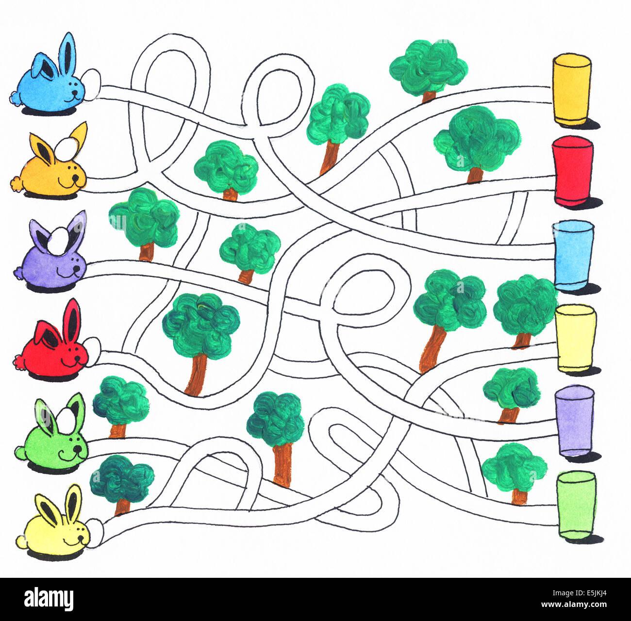 Acryl Illustration Ostern Labyrinth Spiel Oder Aktivitat Seite Fur Kinder Hasen Und Eiern