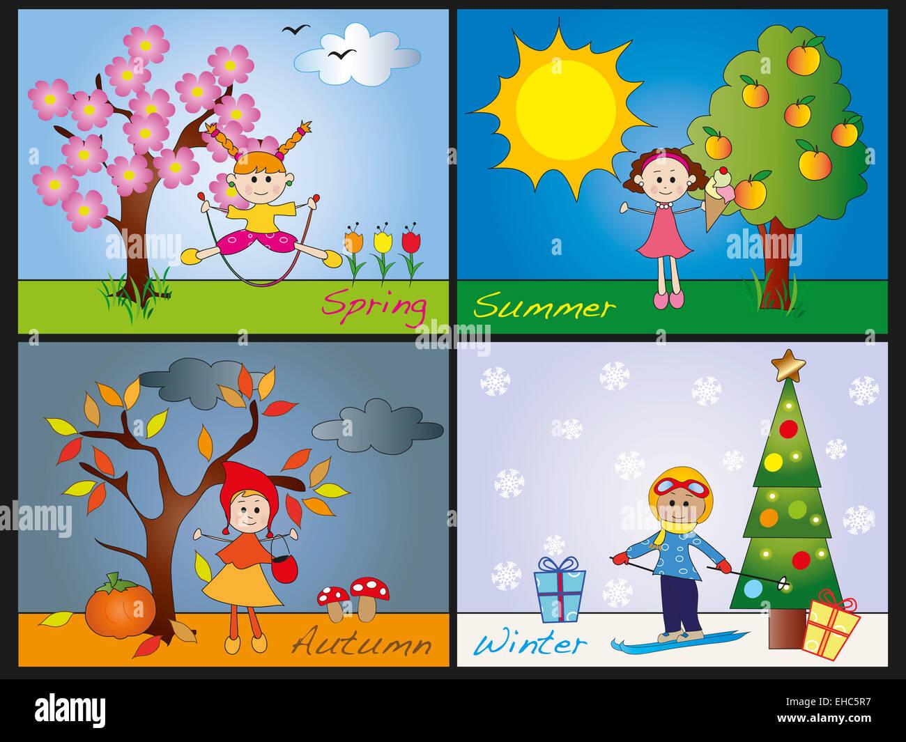 Darstellung Der Vier Jahreszeiten Mit Kindern Stockfoto Bild