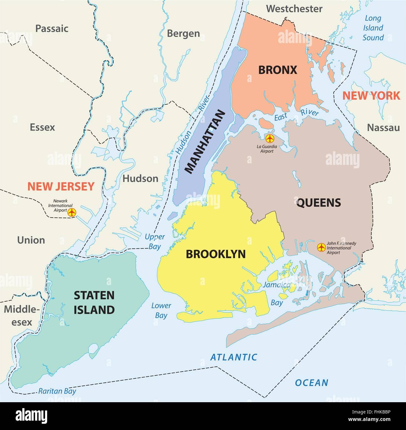 Stadtplan New York City 5 Bezirke Vektor Abbildung