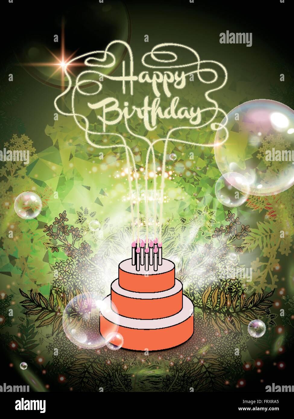 Geheimnisvolle Happy Birthday Kalligraphie Design Mit Geburtstagstorte Stock Vektorgrafik Alamy