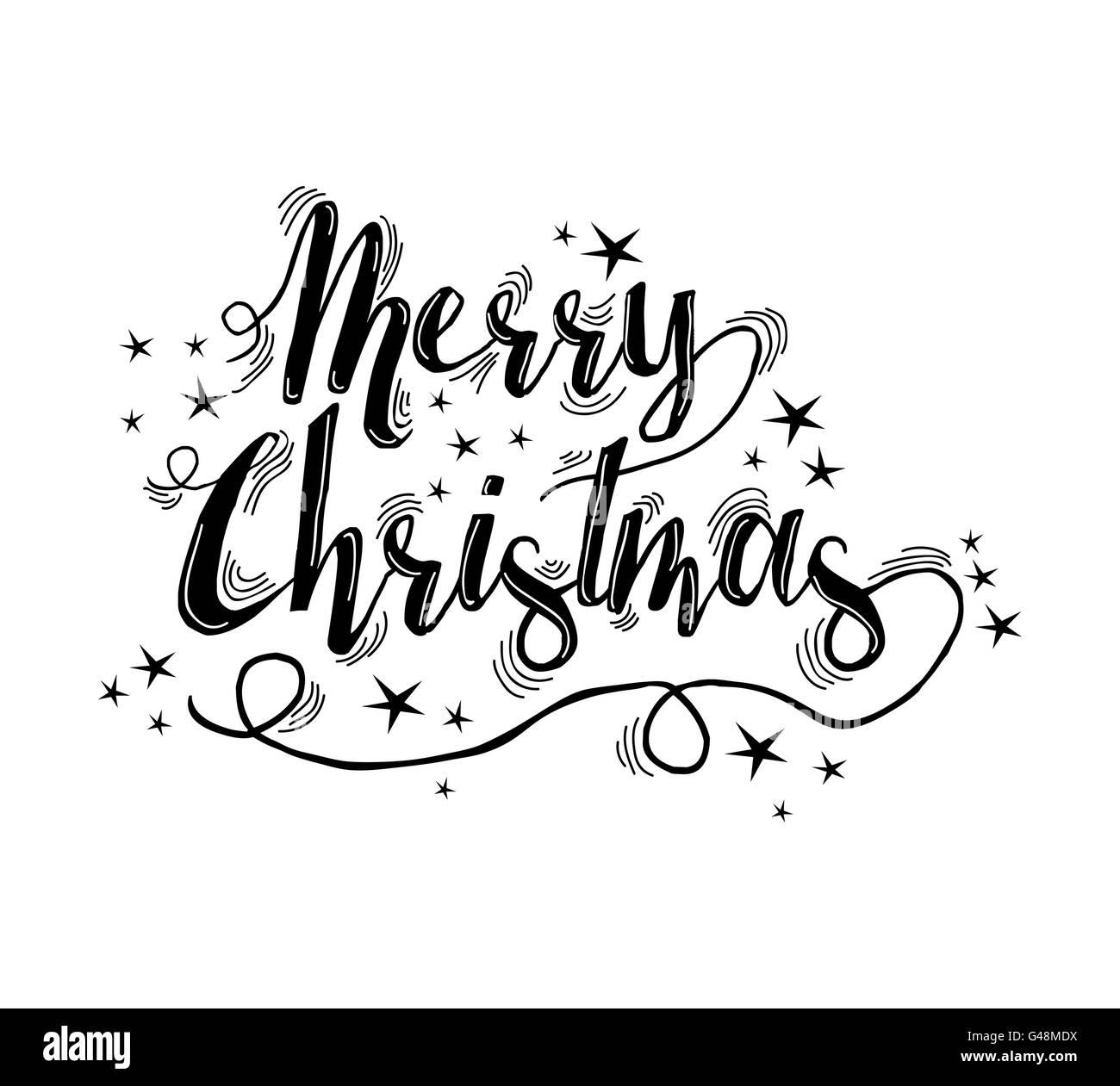 Frohe Weihnachten Schriftzug Ornament Design Mit Sternen