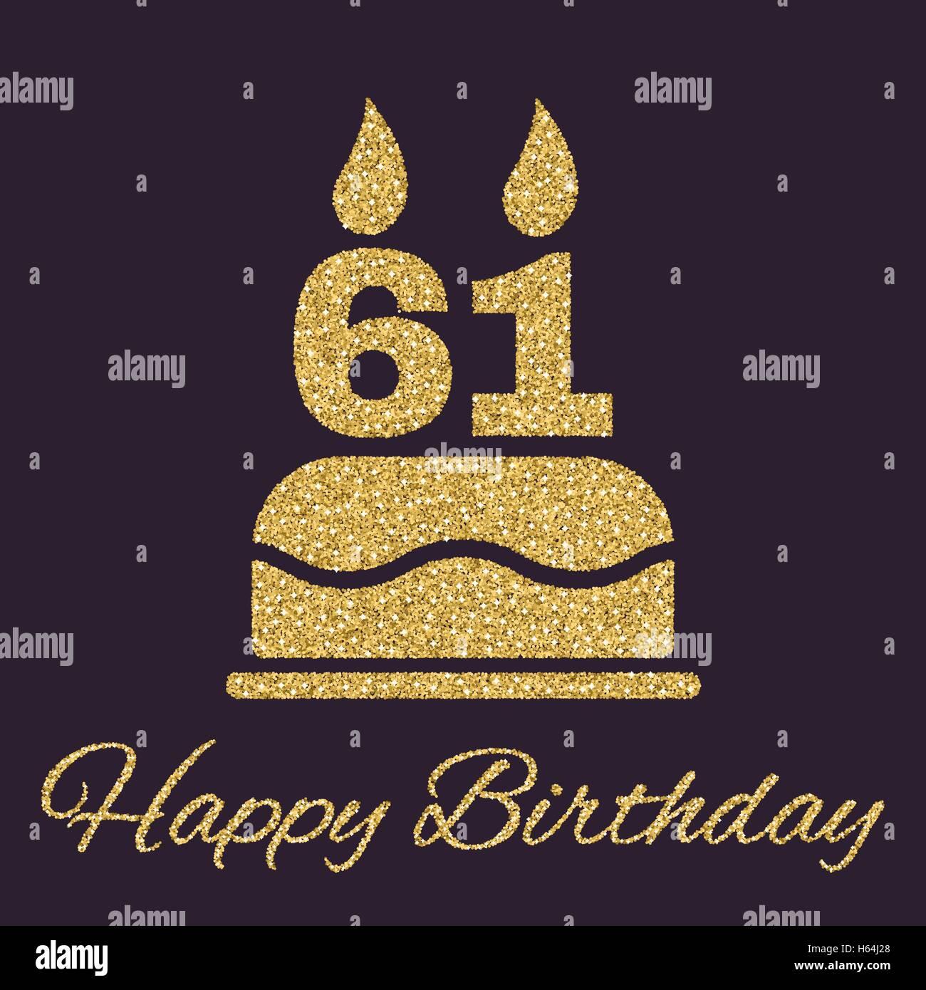 61 Jahre Alles Gute Zum Geburtstag Karte Mit Kuchen Und Kerzen