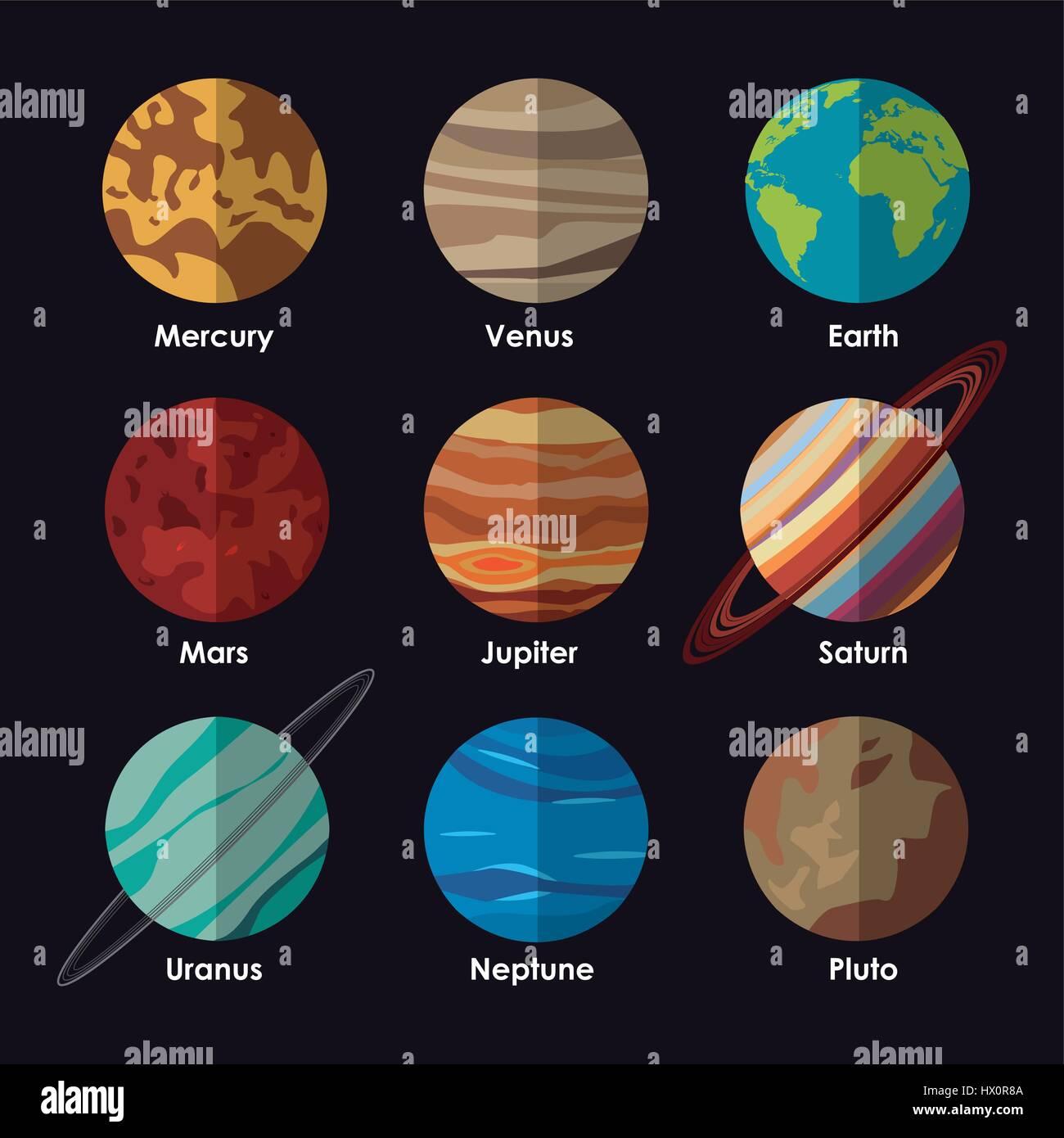 Planeten Sonnensystem Mit Namen Vektor Abbildung