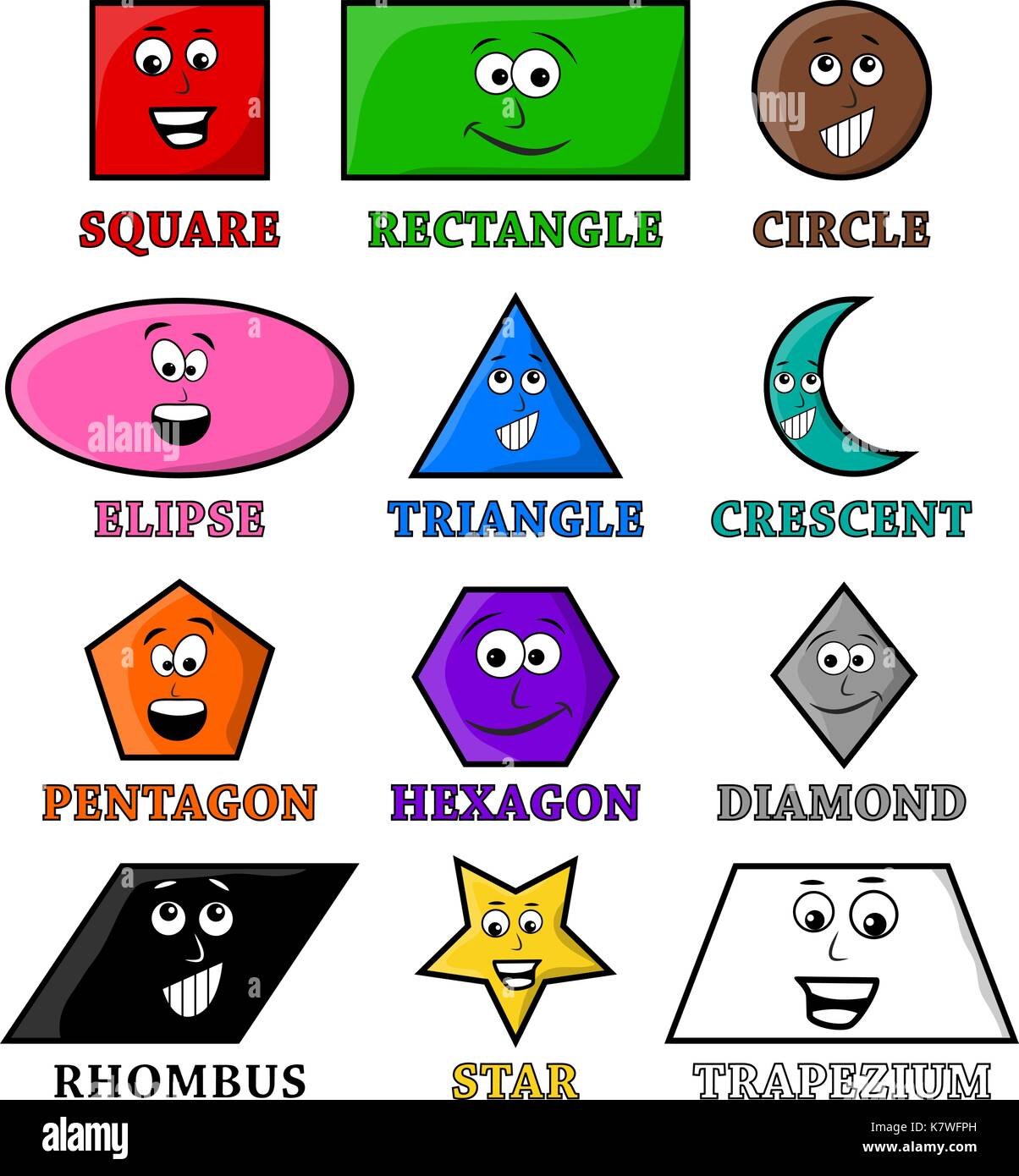 Cartoon Geometrische Formen Mit Lacheln Vektor Symbol Icon