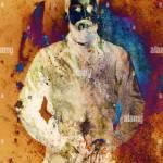 Kunst Collage Mann Mit Bart Und Abstrakten Hintergrund Mit Flecken Stockfotografie Alamy