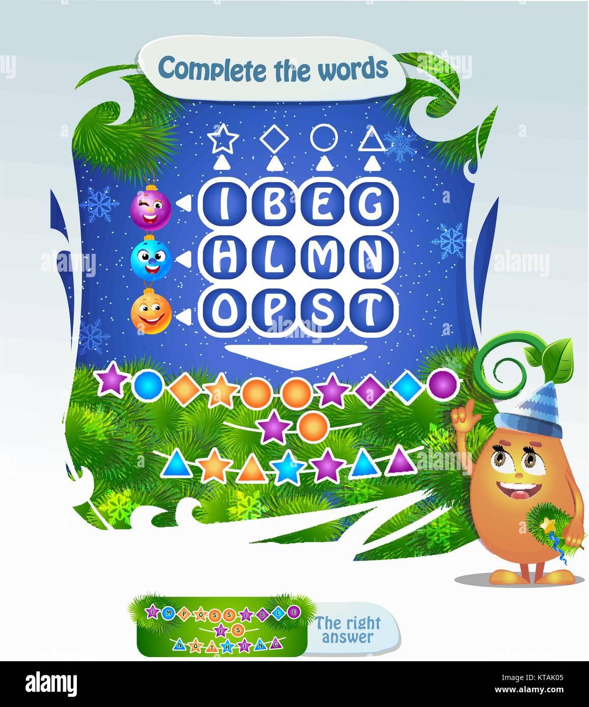 Worte Puzzle Lernspiel Fur Kinder Aufgabe Vollstandige