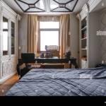 Luxuriose Schlafzimmer Einrichtung In Dunklen Farben Stockfotografie Alamy