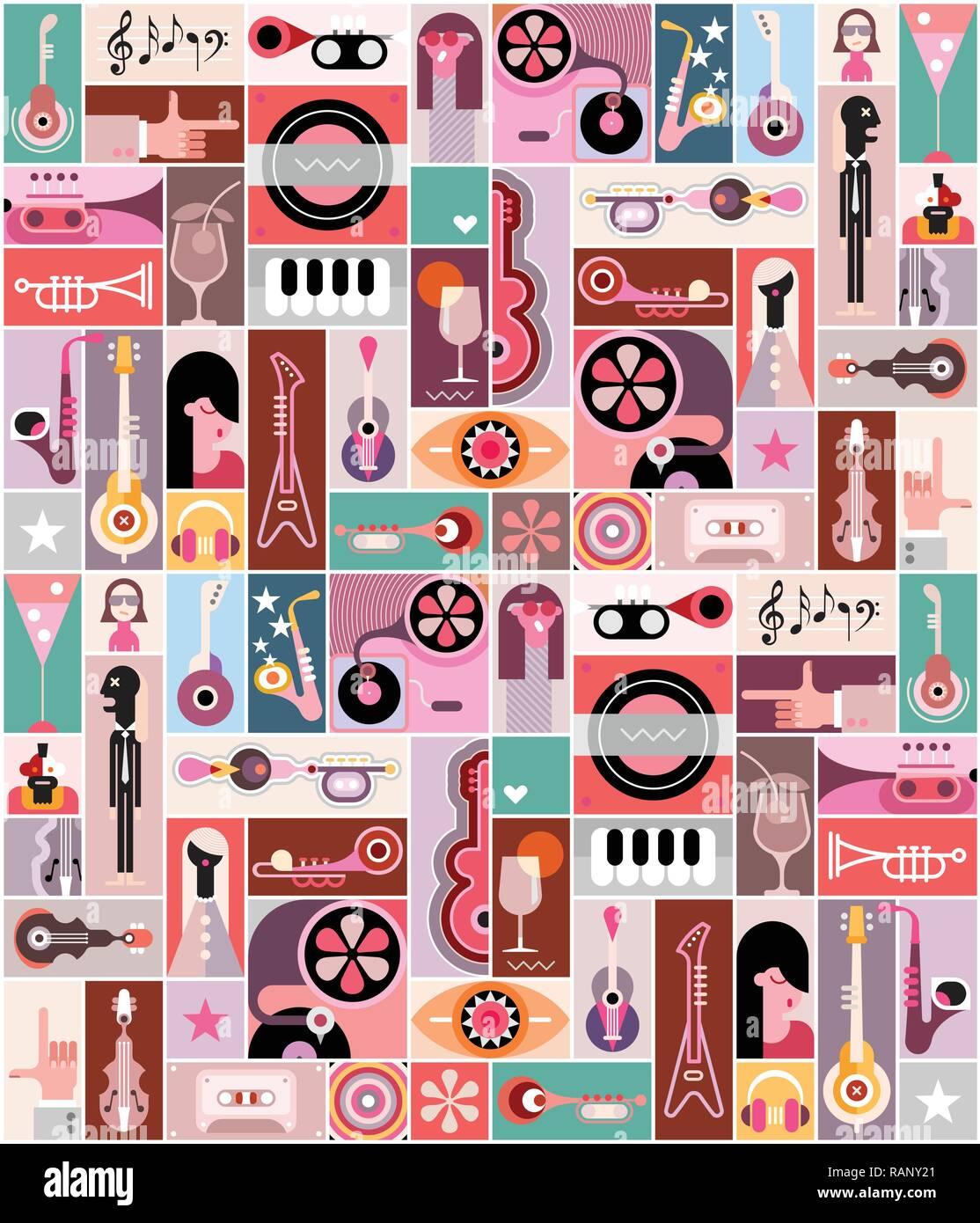 musik pop art vector illustration