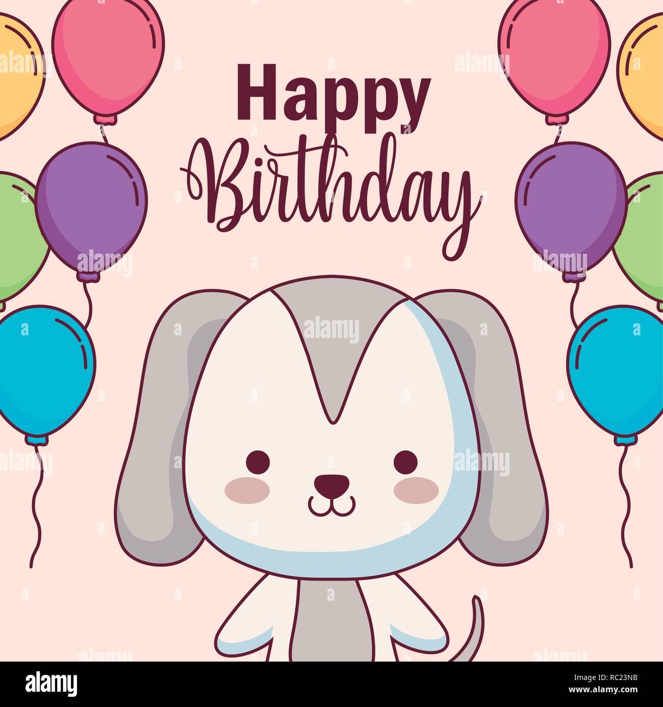 Susser Hund Happy Birthday Karte Mit Ballons Helium Vector Illustration Design Stock Vektorgrafik Alamy